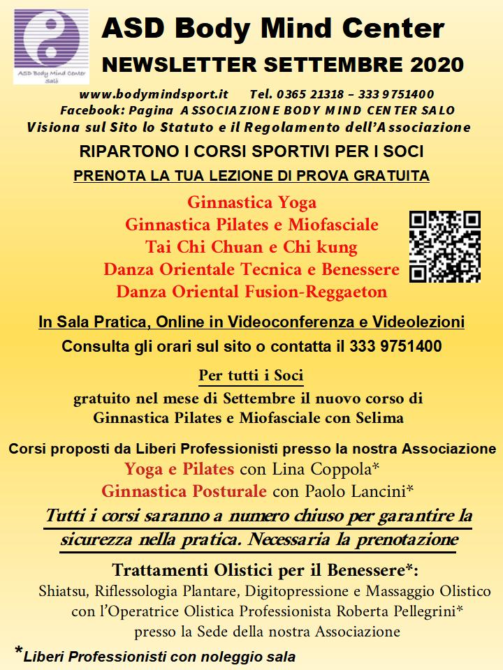 Newsletter Di Settembre 2020 Asd Body Mind Center Salo